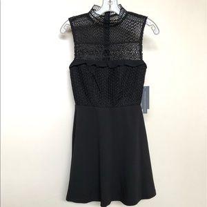 Black lace, mock turtle neck dress